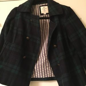 Navy and Green Plaid Coat